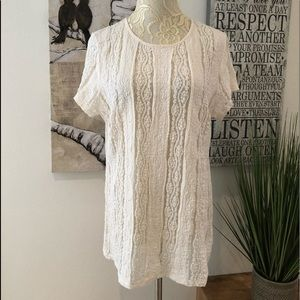 CAbi Style 260 Sheer Cream Lace Pullover Top